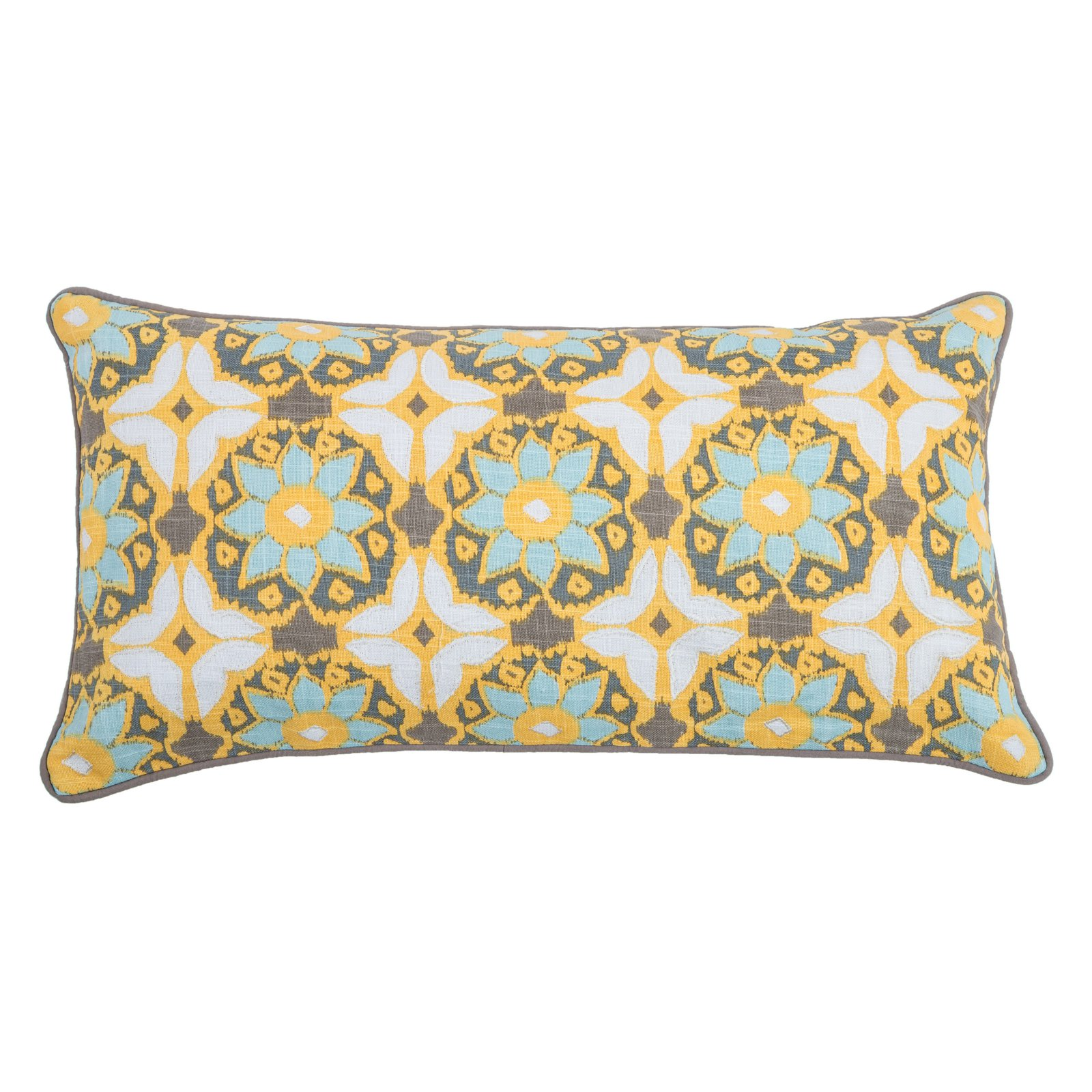 """Laura Fair By Rizzy Home Decorative Poly Filled Throw Pillow Geometric 11""""X21"""" Yellow"""