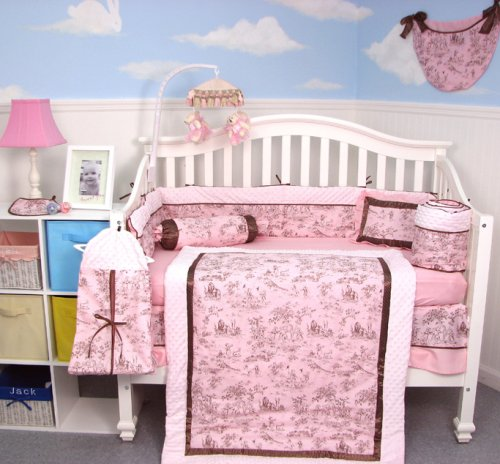 Soho Pink & Brown French Toile Baby Crib Nursery Bedding Set