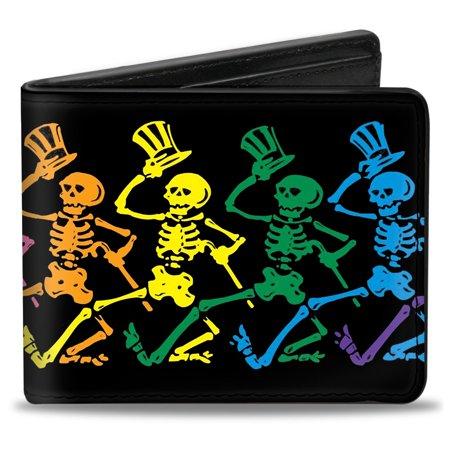 Grateful Dead Psychedelic Rock Band Rainbow Skeletons Bi Fold Wallet