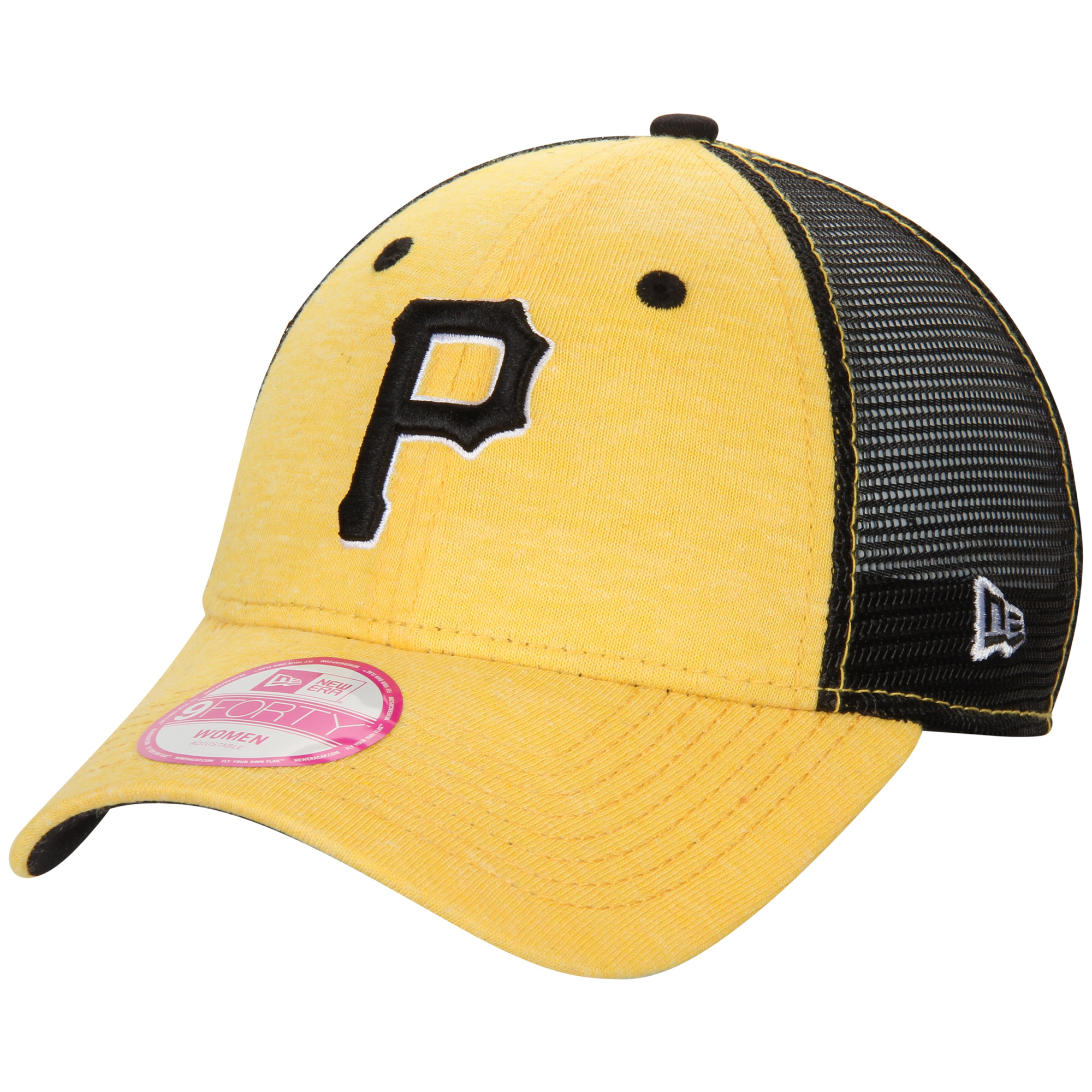 Pittsburgh Pirates New Era Women's Tri-Blend 9FORTY Trucker Adjustable Hat - Gold/Black - OSFA
