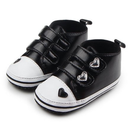 Kacakid Baby Girls Boys PU Leather Heart Pattern Crib Shoes Soft Prewalkers Casual Toddler Sneaker Baby Shoes (Queen Of Hearts Shoes)