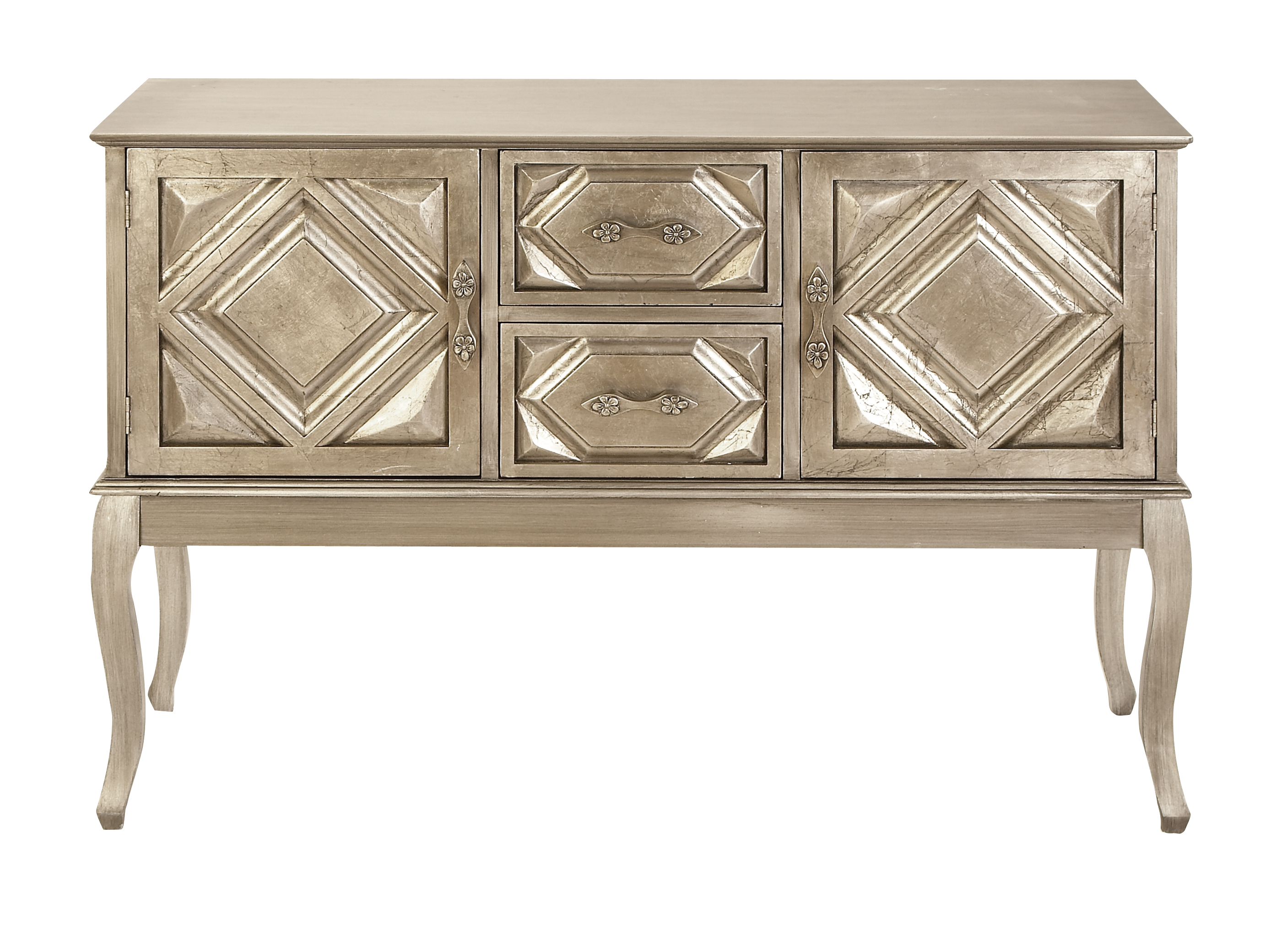 Decmode 33 X 48 Inch Traditional Golden Wood Buffet Table, White Gold    Walmart.com