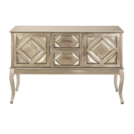 48 Sideboard (Decmode 33 X 48 Inch Traditional Golden Wood Buffet Table, White Gold )