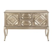 decmode 33 x 48 inch traditional golden wood buffet table white gold - White Buffet Table