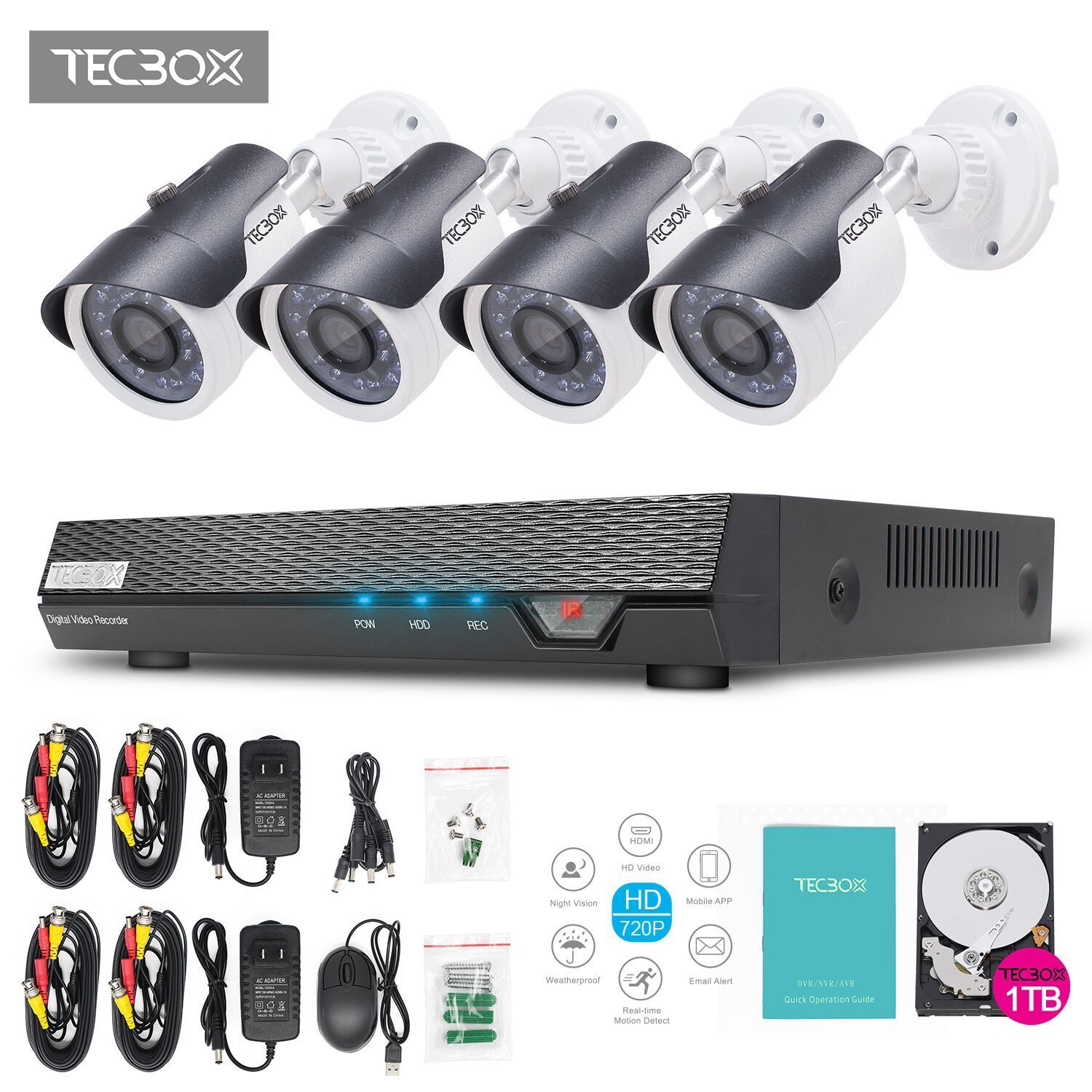 TECBOX AHD DVR 4 Channel CCTV Security Camera System with 4 HD 720P Outdoor CCTV Cameras Remote View Motion Detection 1TB Hard Drive Included