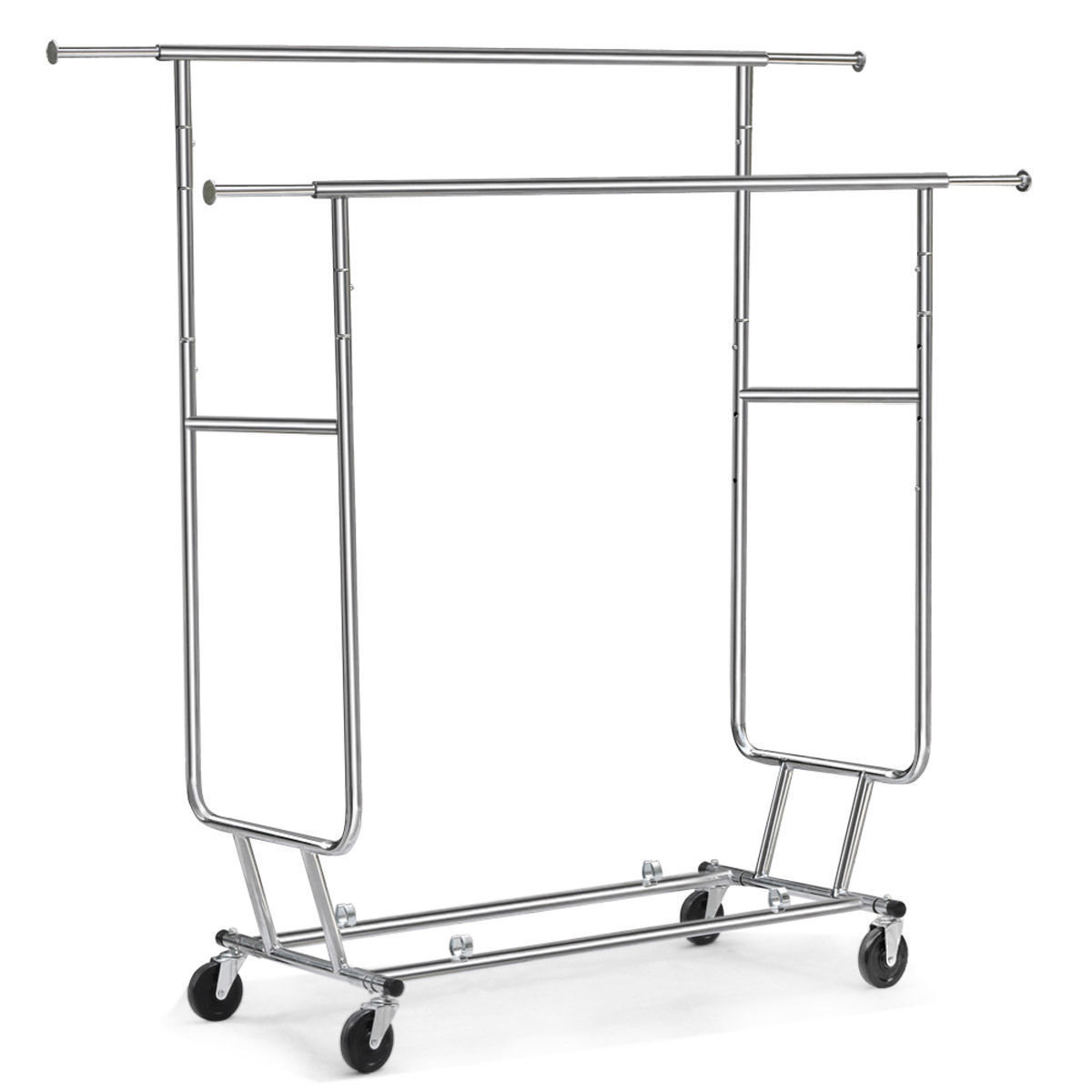 Ktaxon Heavy Duty Steel Double-bar Garment Rack Hanger Silver