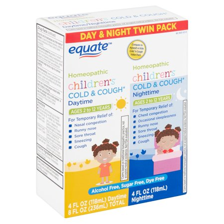 Equate Children's Homeopathic Daytime & Nighttime Cold & Cough Liquid Twin Pack, 4 fl oz