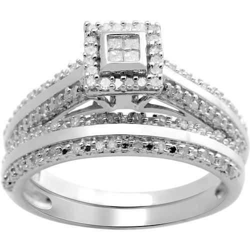 1/3 Carat T.W. Princess and Round Diamond Sterling Silver Bridal Set