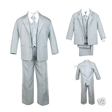 BABY, TODDLER & BOY WEDDING  PARTY FORMAL no tail TUXEDO SUIT LT. GRAY  S -20 - Tail Tuxedo
