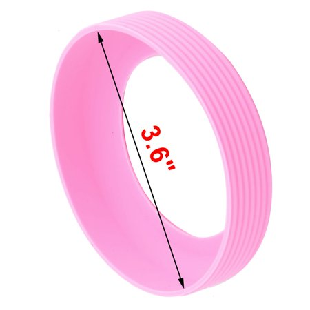 Cafe Silicone Round Reusable Heat Insulated Coffee Cup Protector Sleeve Pink - image 1 of 4