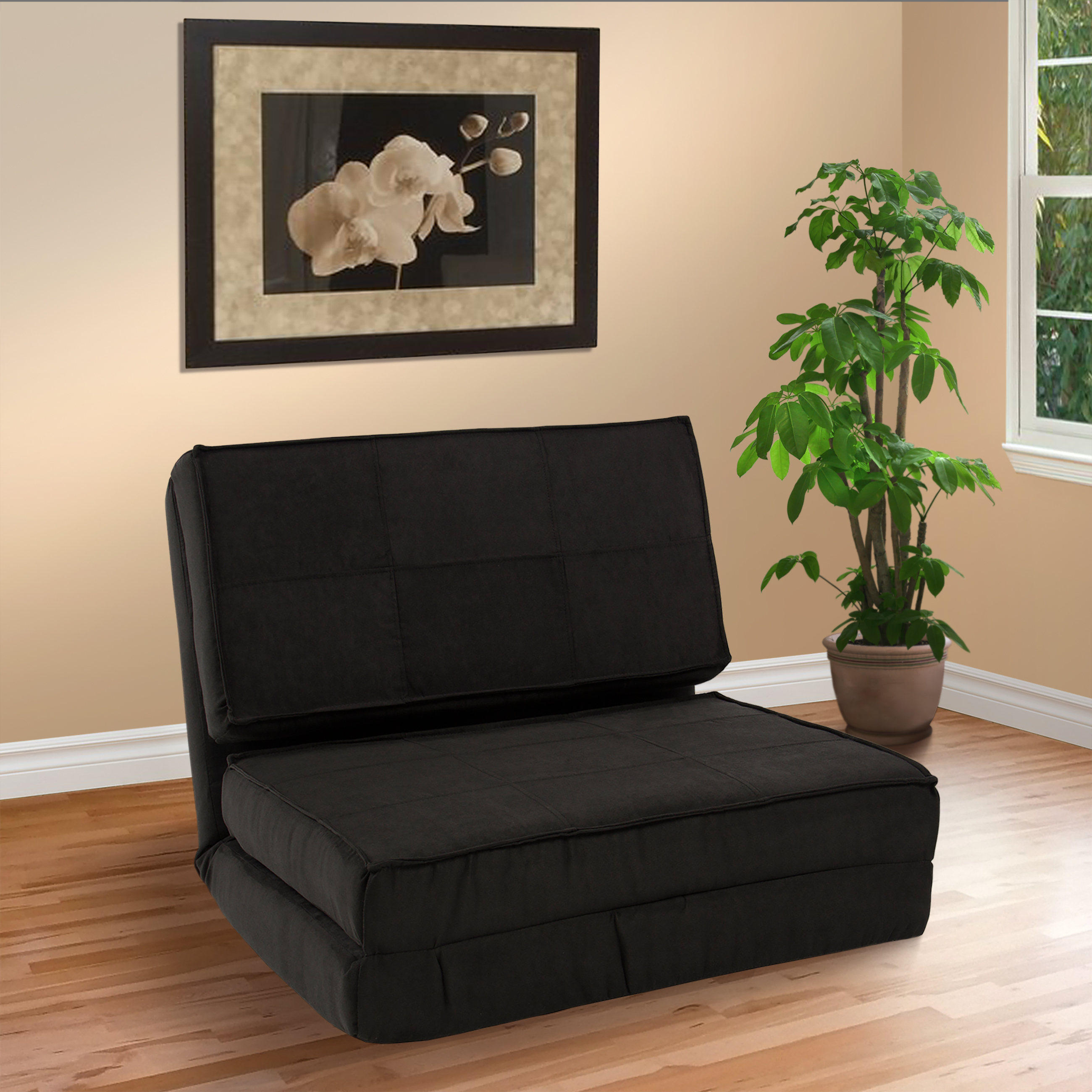 Fold Down Chair Flip Out Lounger Convertible Sleeper Bed Couch Game Dorm Guest