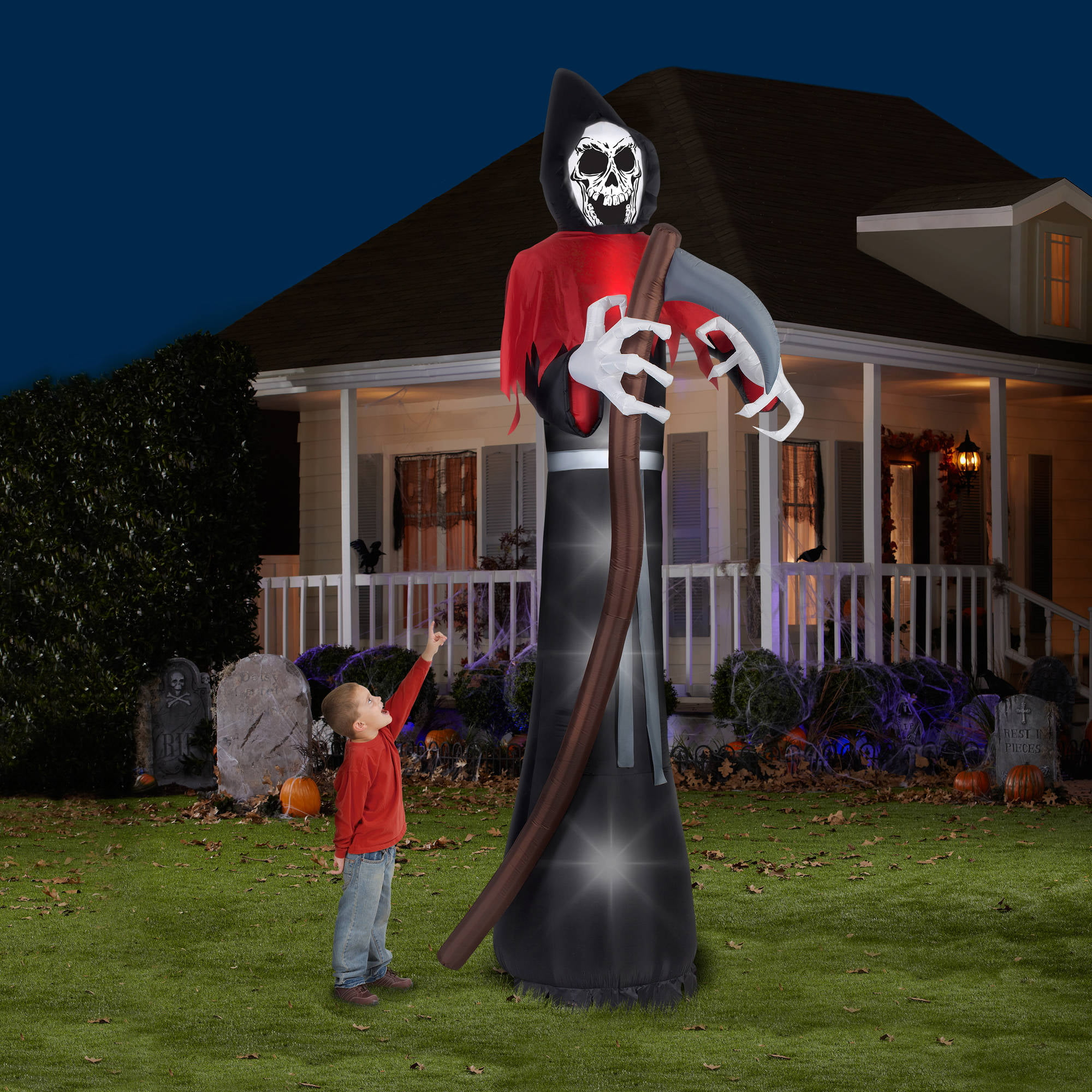 12 tall grim reaper halloween airblown inflatable walmartcom - Walmart Halloween Decorations