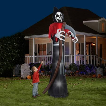 12\u002639; Tall Grim Reaper Halloween Airblown Inflatable  Walmart.com