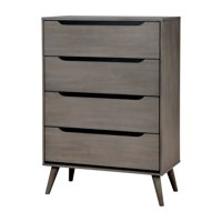 Furniture of America Farrah Mid-Century 4-Drawer Chest, Gray