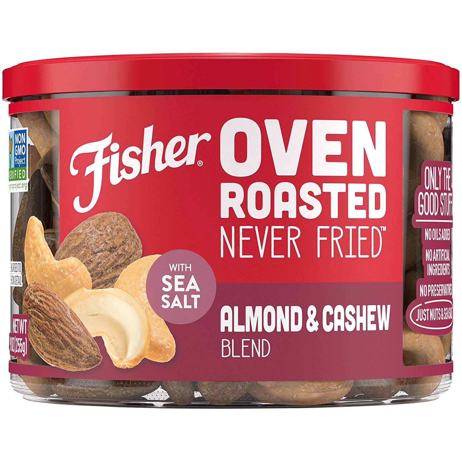 Fisher Snack Oven Roasted Never Fried Almond & Cashew Blend, 9 oz