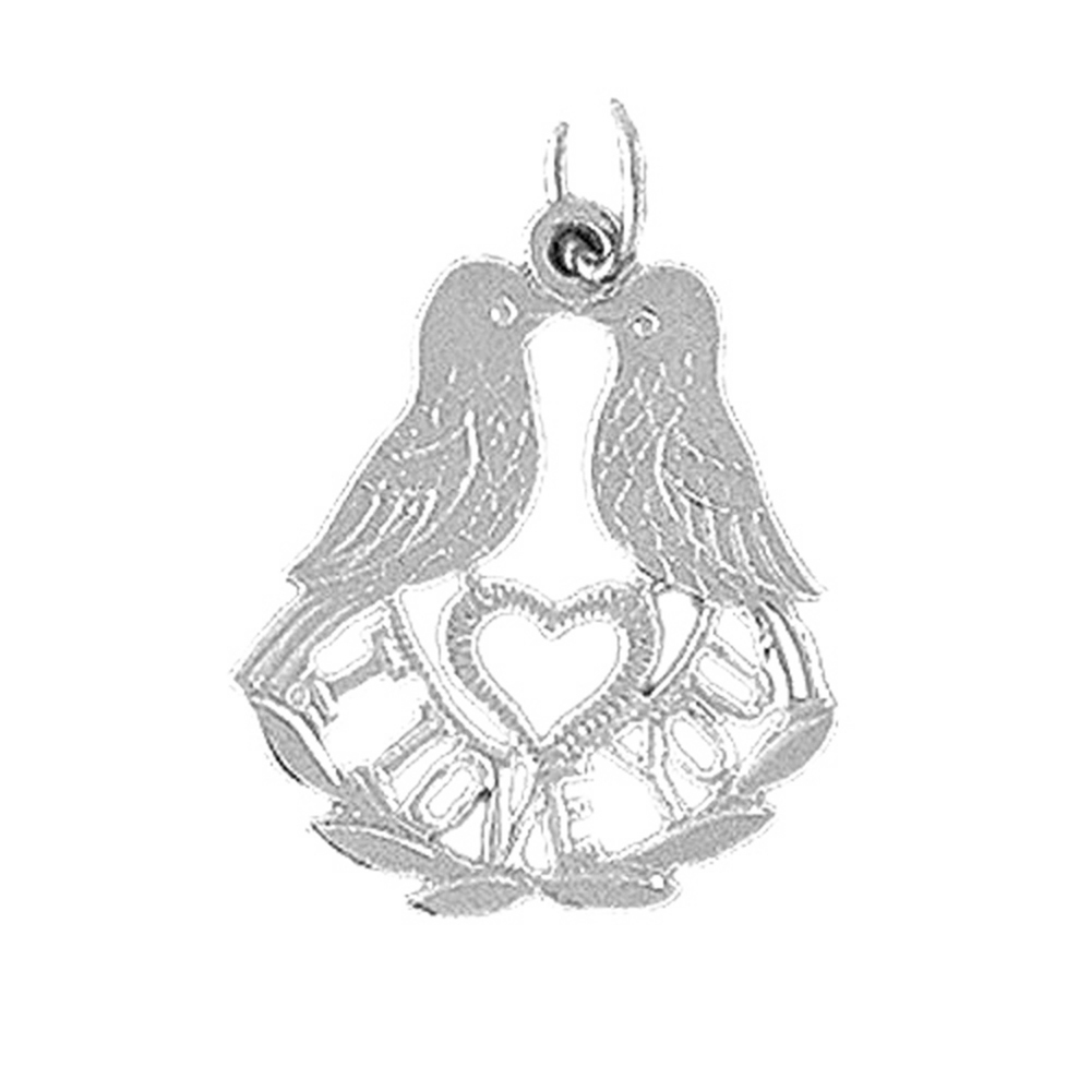 14K White Gold I Love You Pendant - 23 mm