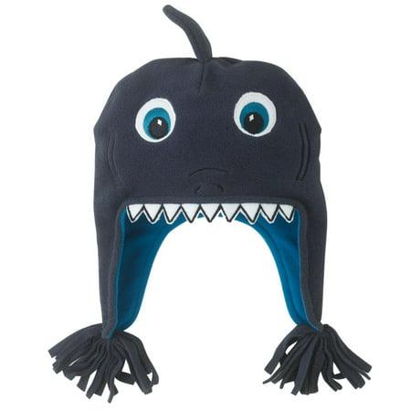 CP Infant & Toddler Boys Blue Microfleece Shark Peruvian Trapper - Shark Foam Hat