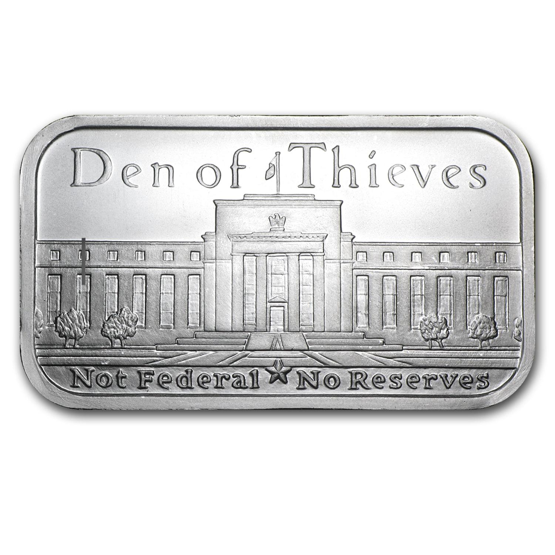 1 oz Silver Shield Bar - Den of Thieves
