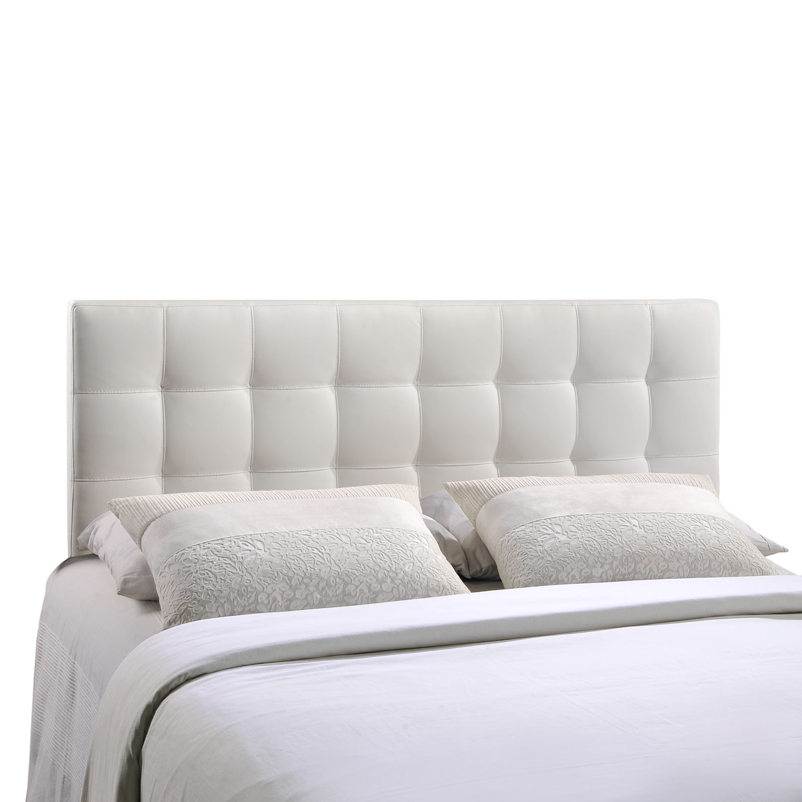 Modern Contemporary King Size Vinyl Headboard, White Faux Leather