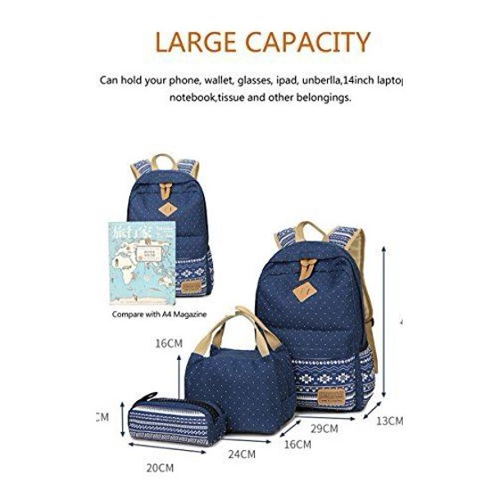 6e0a887da Gazigo - Gazigo Geometry Girls Canvas College Laptop Backpack Lunch Bag  Backpacks Women's - Walmart.com