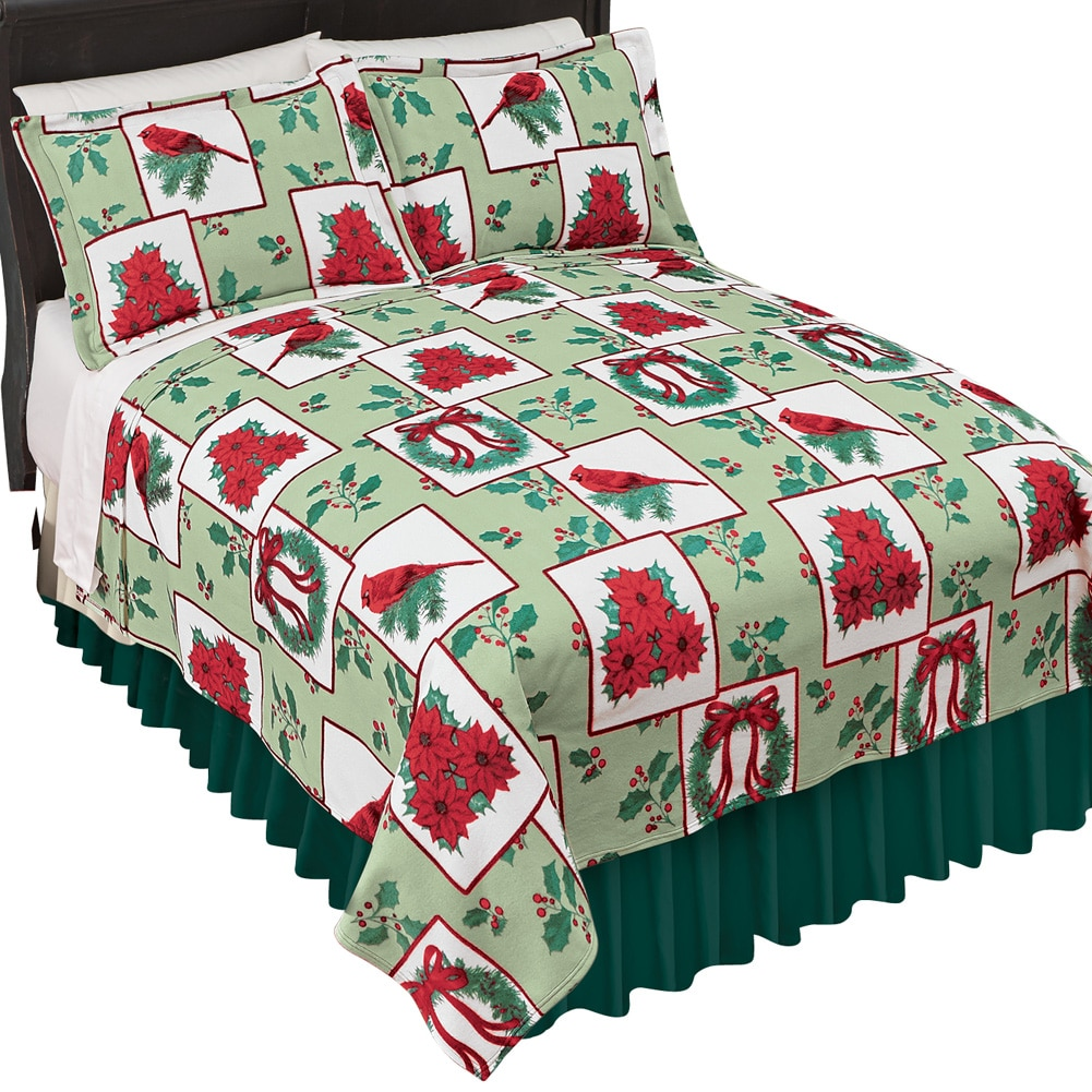 Holiday Fleece Christmas Bedding Coverlet, Full Queen, Holiday Colors by Collections Etc