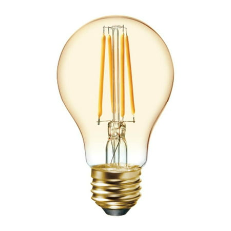 GE LED 6W (60W Equivalent) Vintage A19 General Purpose Bulbs, Amber Finish, Straight Filament, Medium Base 2pk