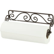 Home Basics Scroll Collection Steel Wall Mounted Paper Towel Holder, Bronze