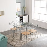 5 Piece Dining Room Table and Chairs, Iron Kitchen Dining Set, Dining table set with 4 Chairs, Heavy-Duty Glass Table & Wooden Seat, Breakfast Furniture for Dining Room, Living Room, Silver, W8560