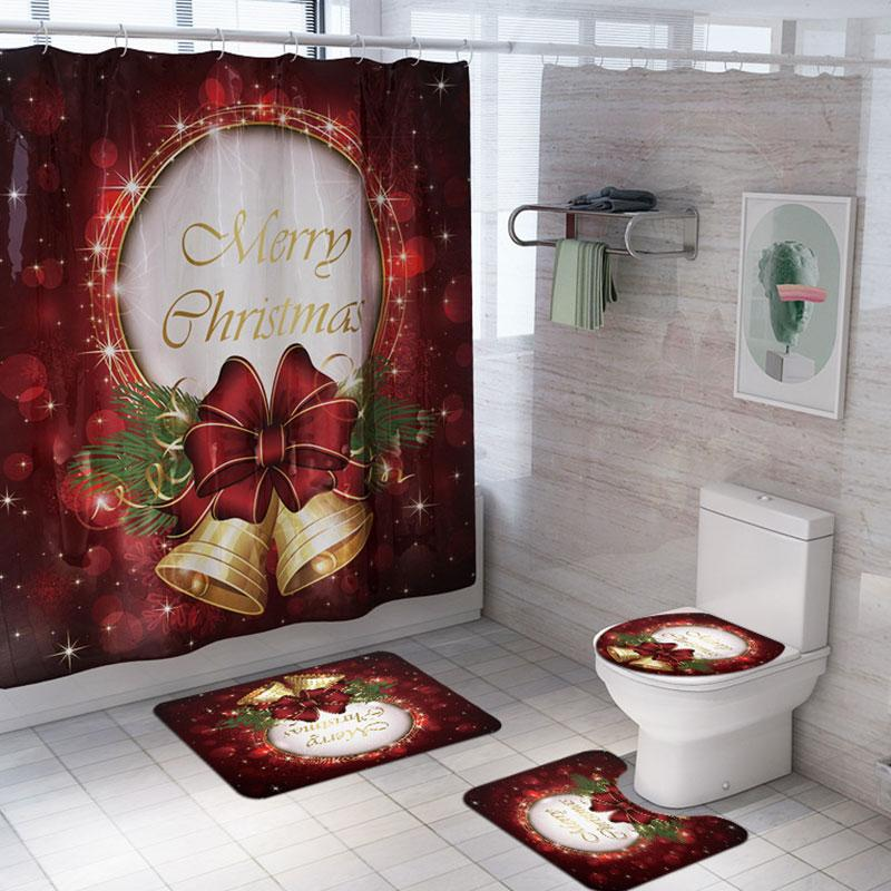 4Pcs//Set Waterproof Shower Curtain  Christmas Bathroom Toilet Mat Rug Cover K