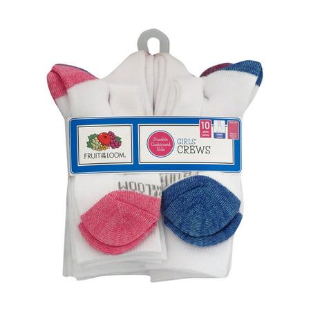 Fruit of the Loom Girls Crew Socks 10-Pack, Sizes S-L