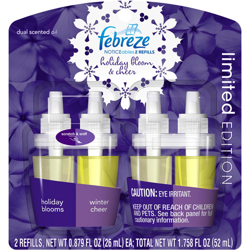 Febreze Noticeables Holiday Blooms/Winter Cheer Dual Scented Oil Refills, 0.879 fl oz, 2 count