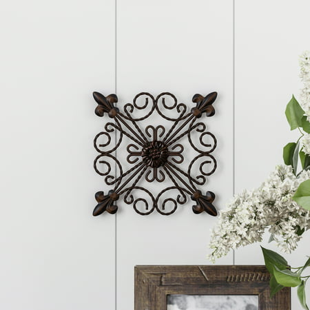 Medallion Metal Wall Art- 8 Inch Square Metal Home Decor, Hand Crafted with Distressed Finish- Mounting Screws Included by Lavish Home ()