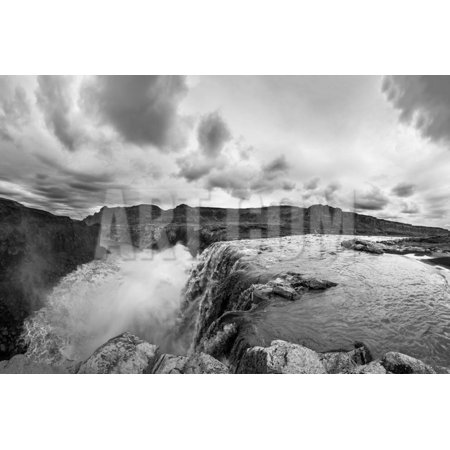 Hafragilsfoss is the Very Powerful Waterfall on Iceland Not far from its Bigger Brother Dettifoss. Print Wall Art By Fyletto