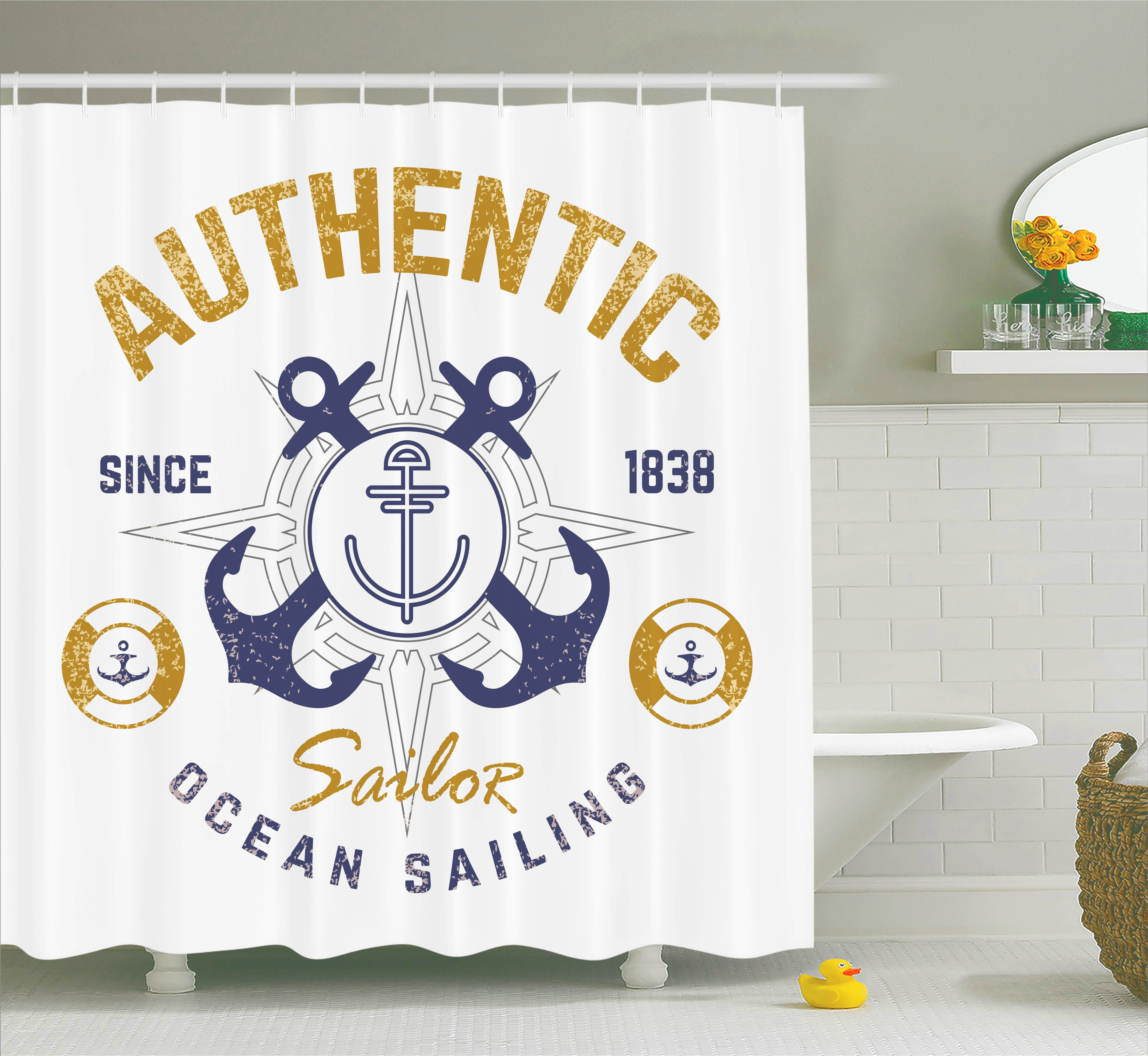 Anchor Decor  Authentic Nautical Emblem Print With Anchor Lifebuoys And Rudder Captain Features, Bathroom Accessories, 69W X 84L Inches Extra Long, By Ambesonne