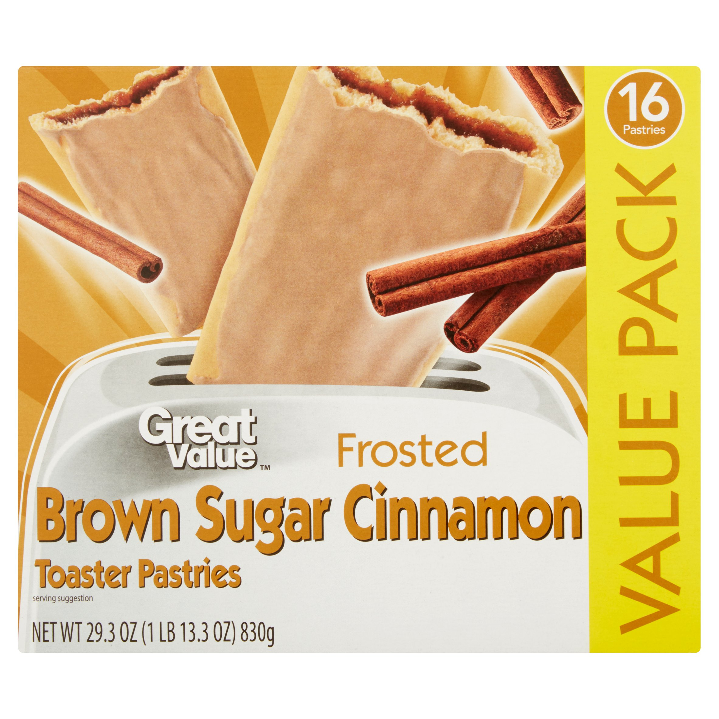 Great Value Frosted Toaster Pastries, Brown Sugar Cinnamon, 16 Count