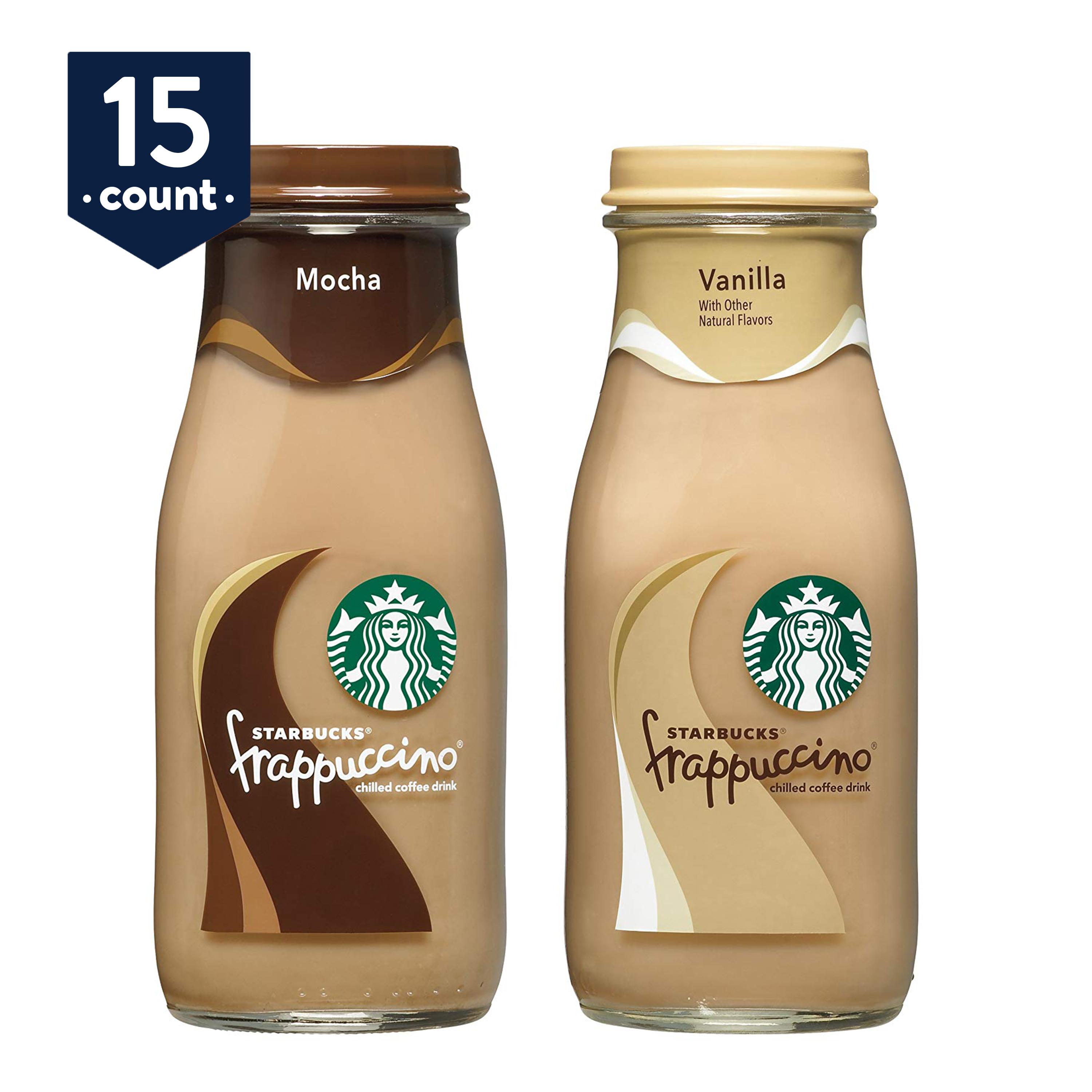 (15 Bottles) Starbucks Frappuccino Coffee Drink, Mocha and Vanilla Flavors, 9.5 oz Glass Bottles