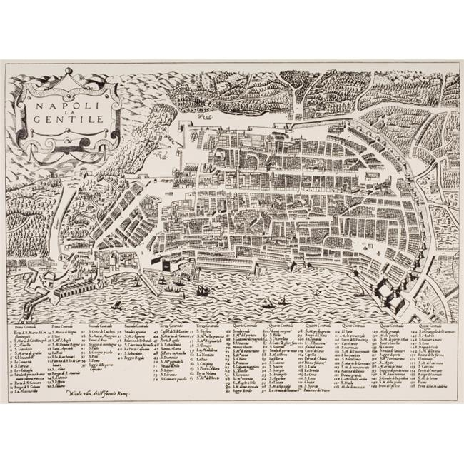 Posterazzi DPI1857010 Map of Naples Italy Undated But Put As Circa 1600 by Map Room British Museum Poster Print, 16 x 12 - image 1 de 1