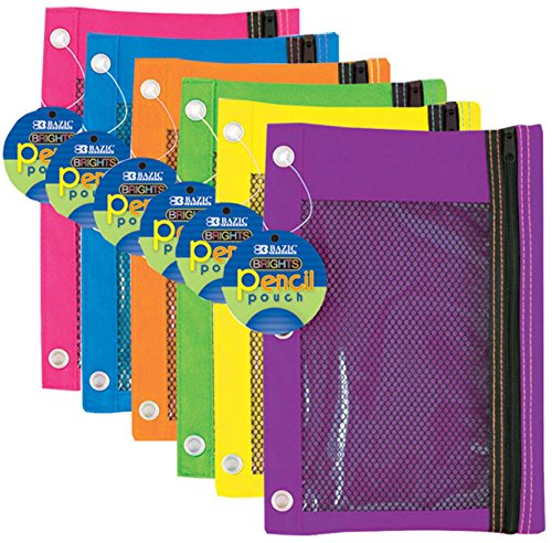 BAZIC Bright Color 3-Ring Pencil Pouch-Mesh Window Case Pack 144