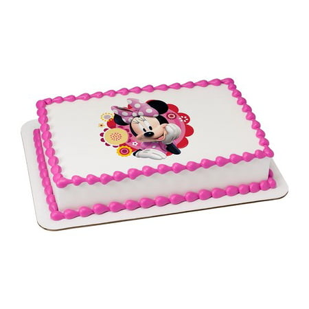 Minnie Dots & Daisies Edible Icing Image Cake Party Topper for 1/4 sheet cake](Minnie Cake Decorations)