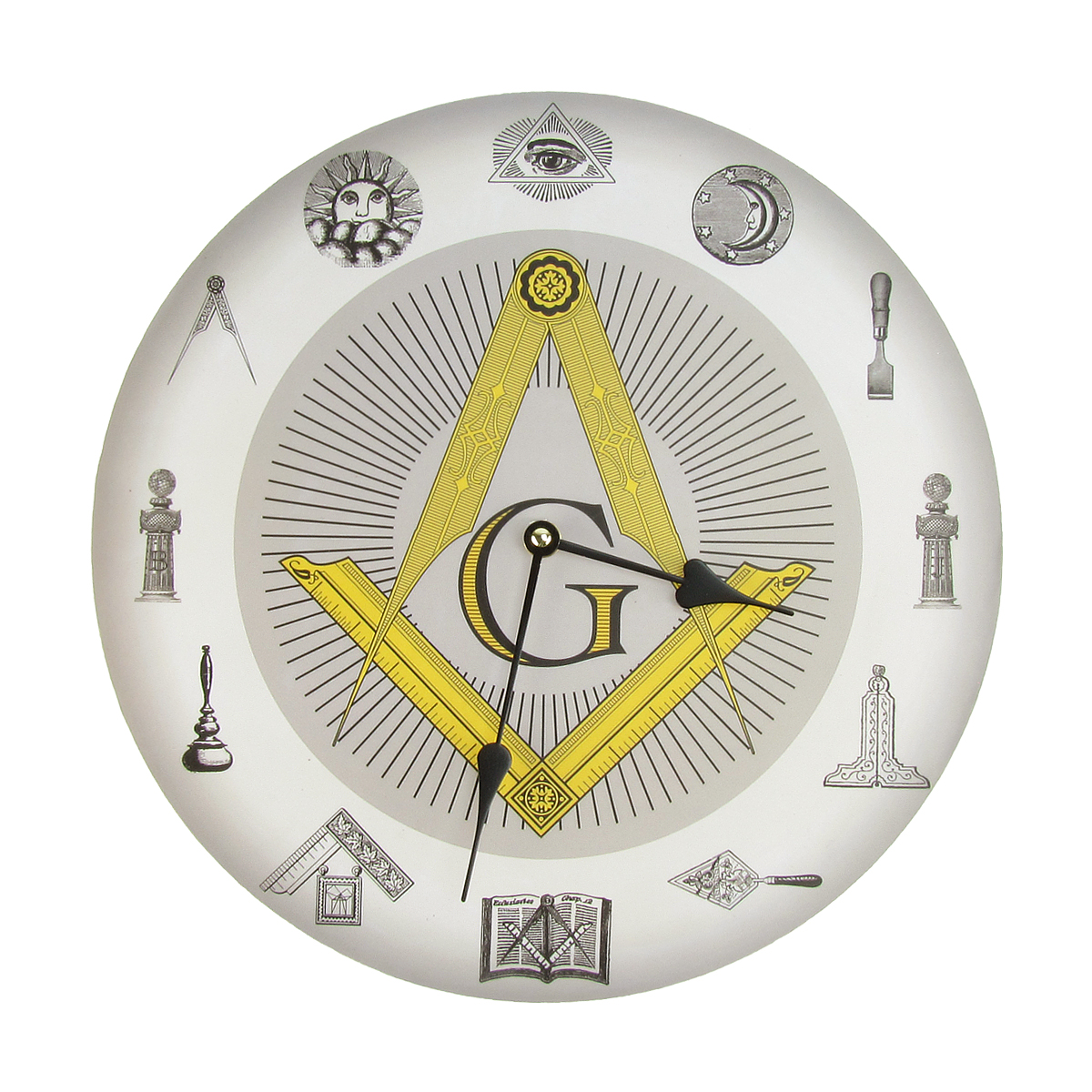 Masonic Symbols Square And Compass Freemason Wall Clock Master Free Mason Gift