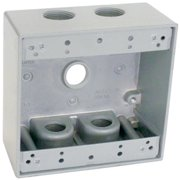 Hubbell Electrical TGB50-5 2 Gang Outlet Box With Five 0.5 in. Holes, Gray