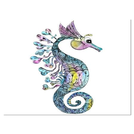 Design Art - Colorful Seahorse Watercolor - image 1 of 4