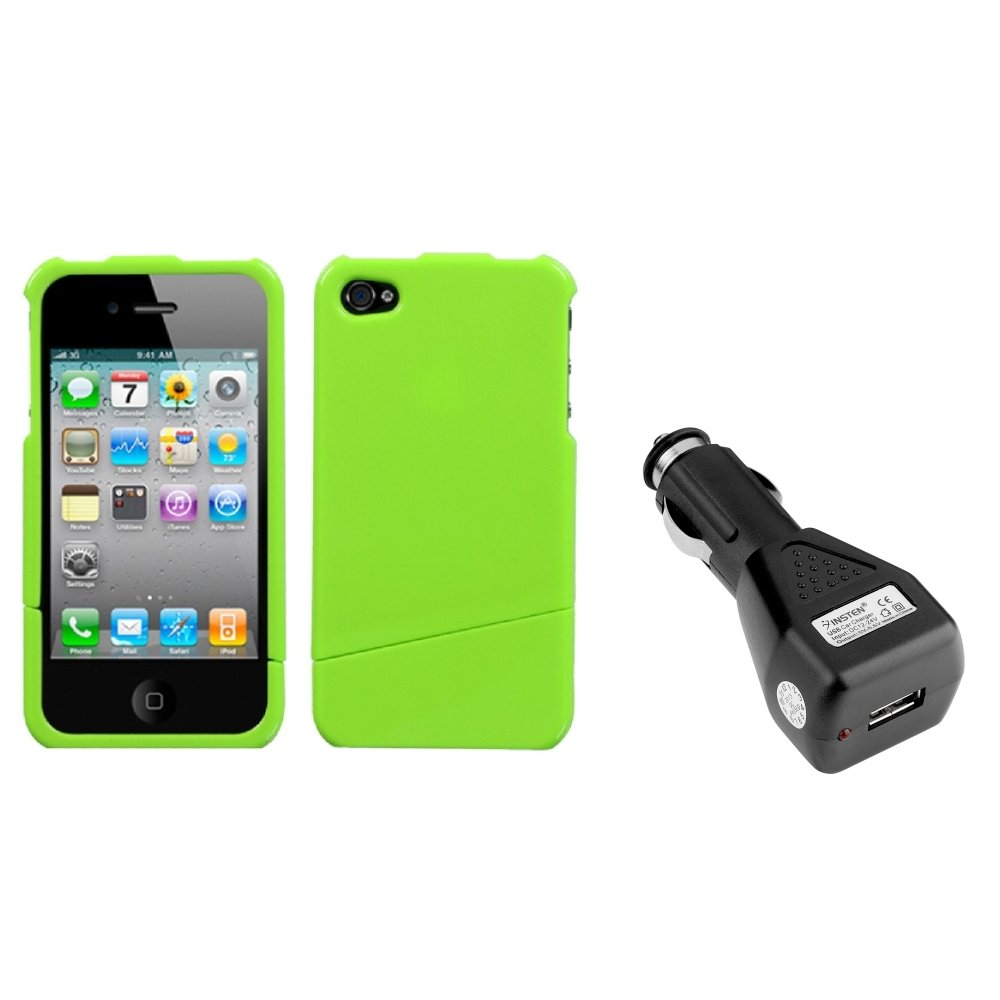 Insten Natural Pearl Green Slash Case For iPhone 4 4S + USB Car Charger Adapter