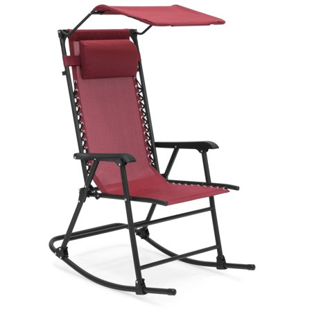 Best Choice Products Outdoor Folding Zero Gravity Rocking Chair w/ Attachable Sunshade Canopy, Headrest - Burgundy