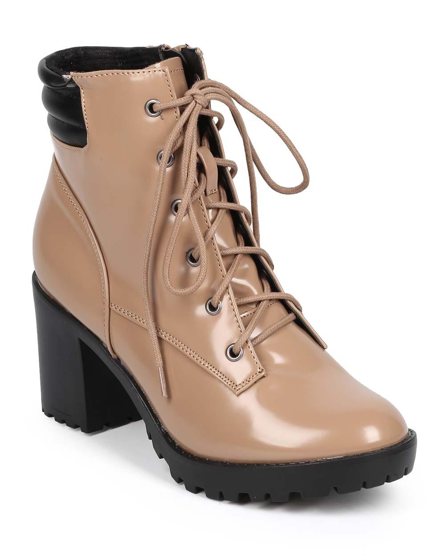 Women Polished Round Toe Block Heel Ribbed Combat Boot DE00