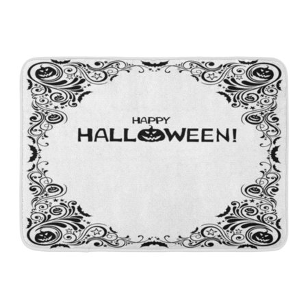 GODPOK Black Abstract Happy Halloween Celebration White with Bat Pumpkin Star and Place for Your Text Angle Rug Doormat Bath Mat 23.6x15.7 inch - Halloween Pumpkin Text Art