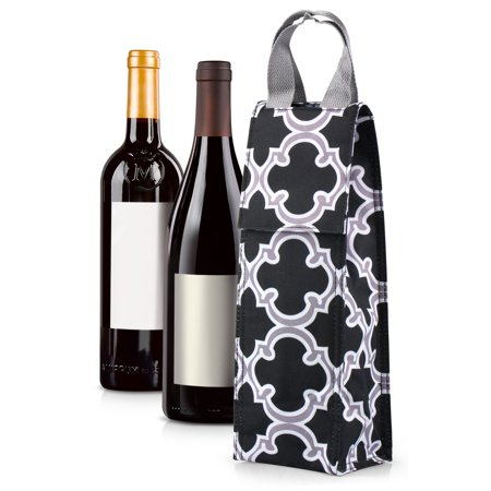 Aluminum Wine Tote - Thermal Insulated Lightweight Wine Bottle Tote Carry Bag by Zodaca for Party - Black Quatrefoil