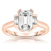 Collette Z  Rose Gold over Silver Asscher-cut Cubic Zirconia Ring 6