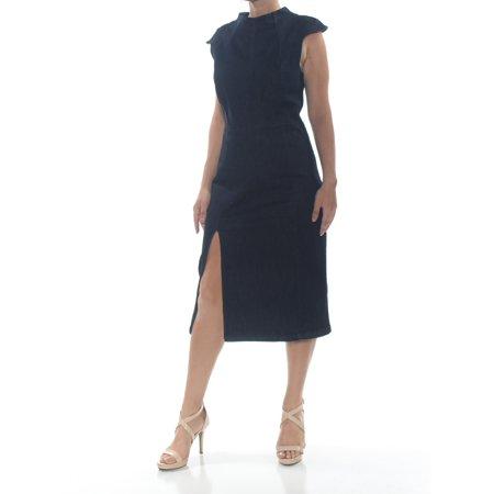 ALEXIA ADAMOR Womens Navy Ruffled Slitted  Denim Cap Sleeve Mandarin Collar Body Con Formal Dress  Size: S