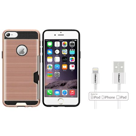 Insten PC/TPU Rubber ID/Card Slot Case Cover For Apple iPhone 6/6s - Rose Gold (Bundle with BasAcc MFI Certified Lightning Cable) - image 3 de 3